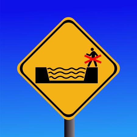 deluge: beware keep out risk of flash flooding sign illustration
