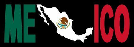 Mexico texto con el mapa de bandera mexicana ilustración  Foto de archivo - 3078969