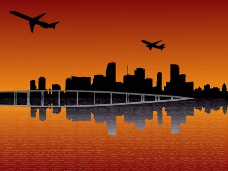 departing: Miami skyline reflected at sunset with departing planes