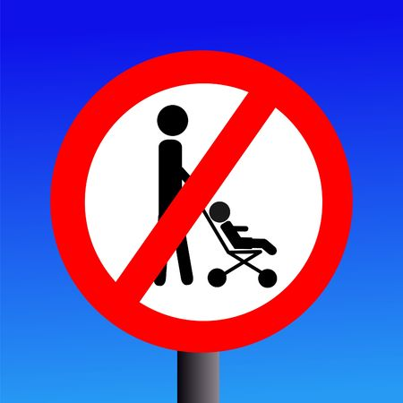 parents with strollers prohibited sign on blue illustration Stock Illustration - 3078962