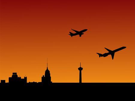 San Antonio skyline at sunset with departing planes photo