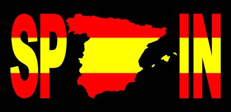 spanish flag: Spain text with map on spanish flag illustration Stock Photo