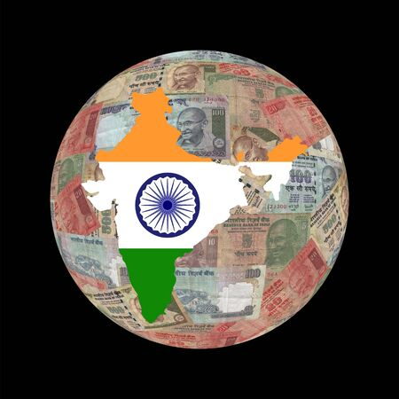 indian money: India map flag on Indian currency globe illustration Stock Photo