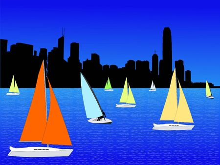 yachts with colourful sails and Hong Kong skyline illustration illustration