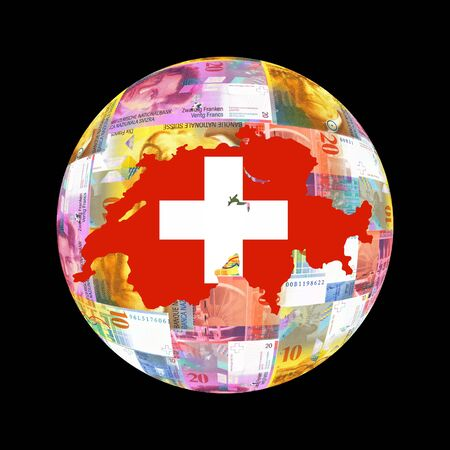 Swiss map flag on currency globe illustration illustration