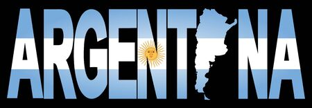 argentinian flag: Argentina text with map on Argentinian flag illustration