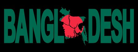 Bangladesh text with map on Bangladeshi flag illustration illustration