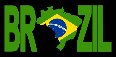 Brazil text with map on Brazilian flag illustration