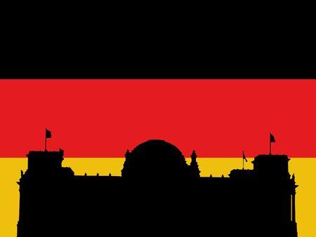 Reichstag German Parliament building against Flag illustration  illustration