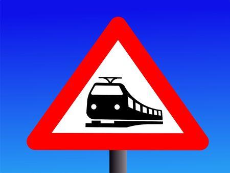 Attention trains crossing road ahead sign illustration illustration