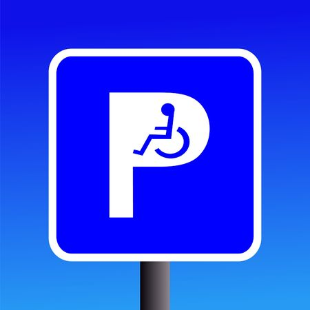 wheel chair: Disabled parking sign with wheel chair symbol