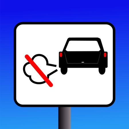 idling: No engine Idling sign with exhaust fumes