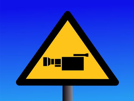 warning cctv camera sign on blue illustration Stock Illustration - 3121627