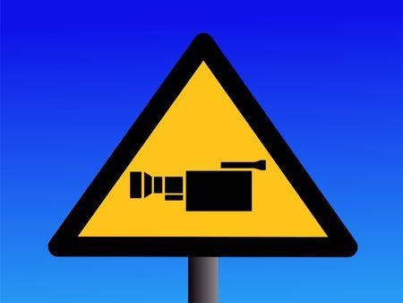 warning cctv camera sign on blue illustration