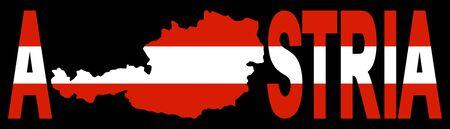 austrian flag: Austria text with map on Austrian flag illustration