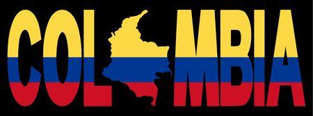 la bandera de colombia: Colombia texto con el mapa de bandera colombiana ilustraci�n  Foto de archivo