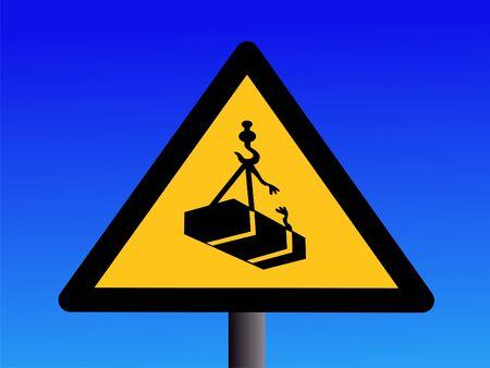 overhead: Warning overhead crane loads on blue Stock Photo