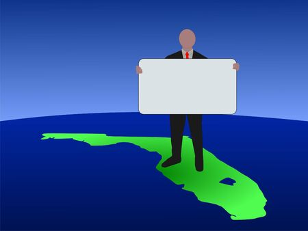 business man standing on map of Florida with blank sign photo