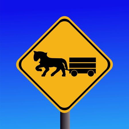 horse and cart: Warning horse and cart on road sign