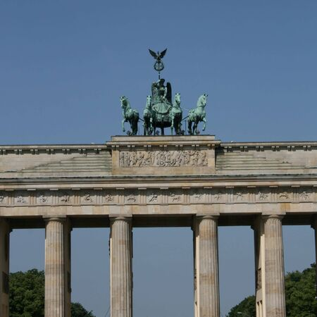 close view of statue on Brandenburg gate Berlin photo