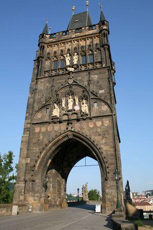 Tower on Charles Bridge Prague Czech Republic Stock Photo