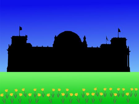 parliament: German Parliament building in springtime with daffodils illustration  Stock Photo