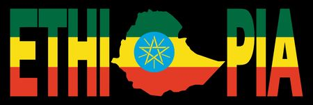 Ethiopia text with map on Ethiopian flag illustration illustration