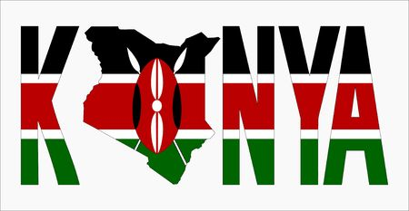 kenya: Kenya text with map on Kenyan flag illustration