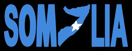 somalian: Somalia text with map on Somalian flag illustration