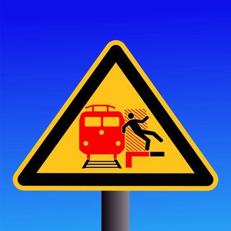 train warning sign on blue illustration illustration