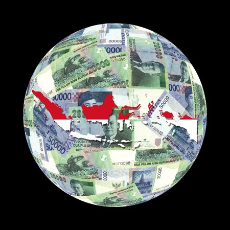 Indonesia flag map on currency globe illustration illustration
