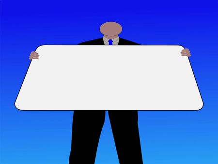 man looking at sky: looking up at Business man with sign against sky illustration