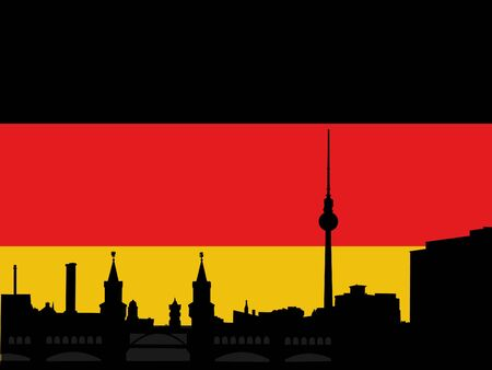 Berlin skyline with tv tower and Oberbaum Bridge againgst German flag Stock Photo - 3211296