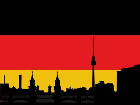 tv tower: Berlin skyline with tv tower and Oberbaum Bridge againgst German flag