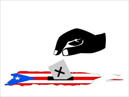puerto rican: hand voting In Puerto Rican Election illustration