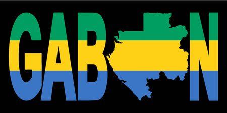 gabon: Gabon text with map on flag illustration