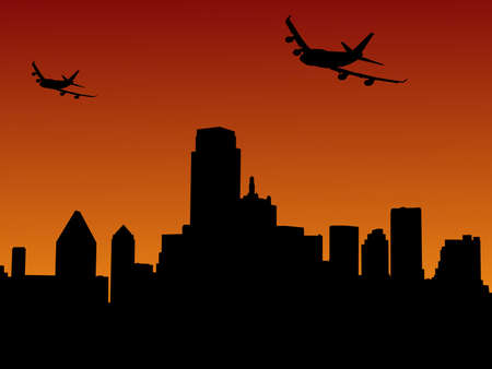 arriving: two planes arriving Dallas at sunset illustration