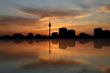 Berlin skyline at sunset illustration illustration