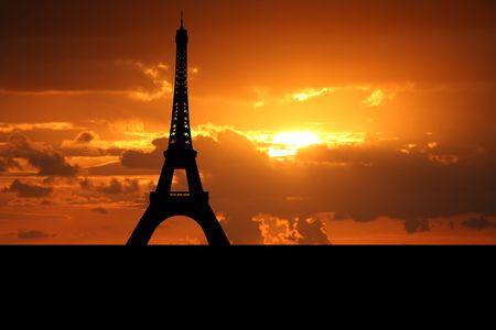 Eiffel tower Paris at sunset illustration
