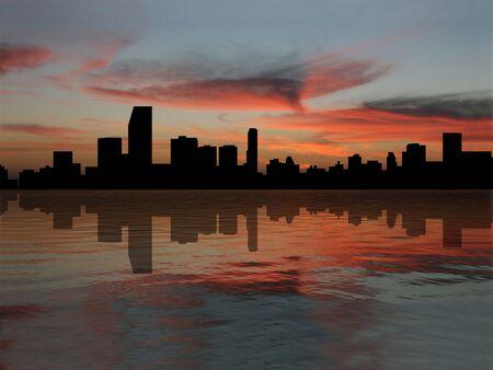 Miami Skyline at sunset illustration illustration