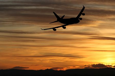 plane taking off at sunset illustration Stock Illustration - 3234393