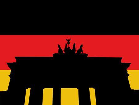Brandenburg gate Berlin with German flag illustration illustration