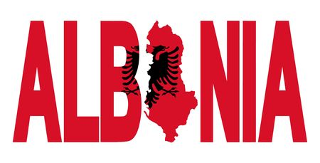 Albania text with map on flag illustration illustration