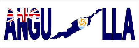 anguilla: Anguilla text with map on flag illustration