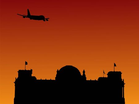 parliament: plane flying over German Parliament building at sunset illustration