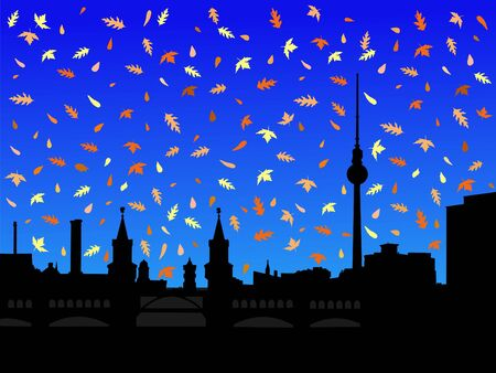 tv tower: Berlin skyline with tv tower in autumn with falling leaves illustration