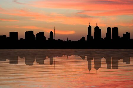 melbourne australia: Melbourne Skyline reflected at sunset illustration
