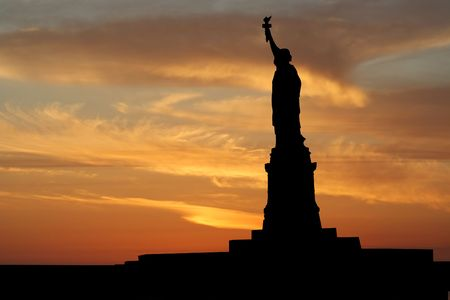 Statue of Liberty New York City at sunset illustration illustration