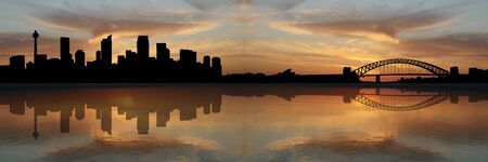 port: Sydney skyline at sunset with beautiful sky illustration