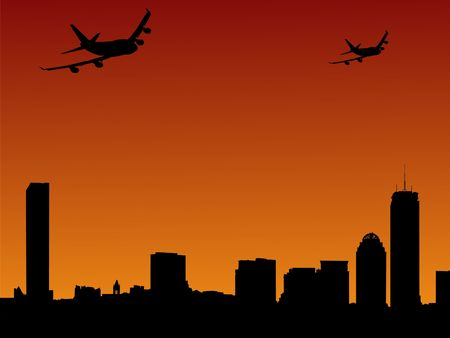 arriving: Boston skyline and two planes arriving illustration
